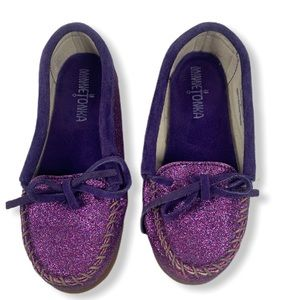 Minnetonka Purple Glitter Sparkle Girls Moccasins